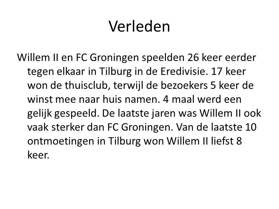 Verleden Willem II en FC Groningen speelden 26 keer eerder tegen elkaar in Tilburg in de Eredivisie. 17 keer won de thuisclub, terwijl de bezoekers 5