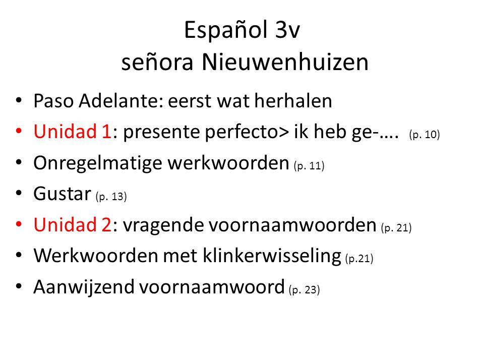 Español 3v señora Nieuwenhuizen Paso Adelante: eerst wat herhalen Unidad 1: presente perfecto> ik heb ge-…. (p. 10) Onregelmatige werkwoorden (p. 11)