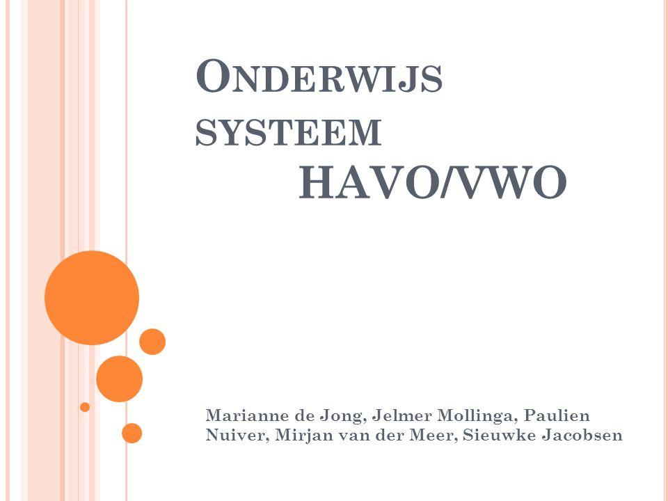 O NDERWIJS SYSTEEM HAVO/VWO Marianne de Jong, Jelmer Mollinga, Paulien Nuiver, Mirjan van der Meer, Sieuwke Jacobsen