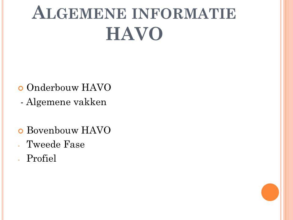 A LGEMENE INFORMATIE HAVO Onderbouw HAVO - Algemene vakken Bovenbouw HAVO - Tweede Fase - Profiel