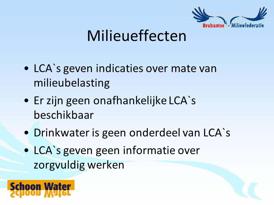 Milieueffecten LCA`s geven indicaties over mate van milieubelasting Er zijn geen onafhankelijke LCA`s beschikbaar Drinkwater is geen onderdeel van LCA`s LCA`s geven geen informatie over zorgvuldig werken