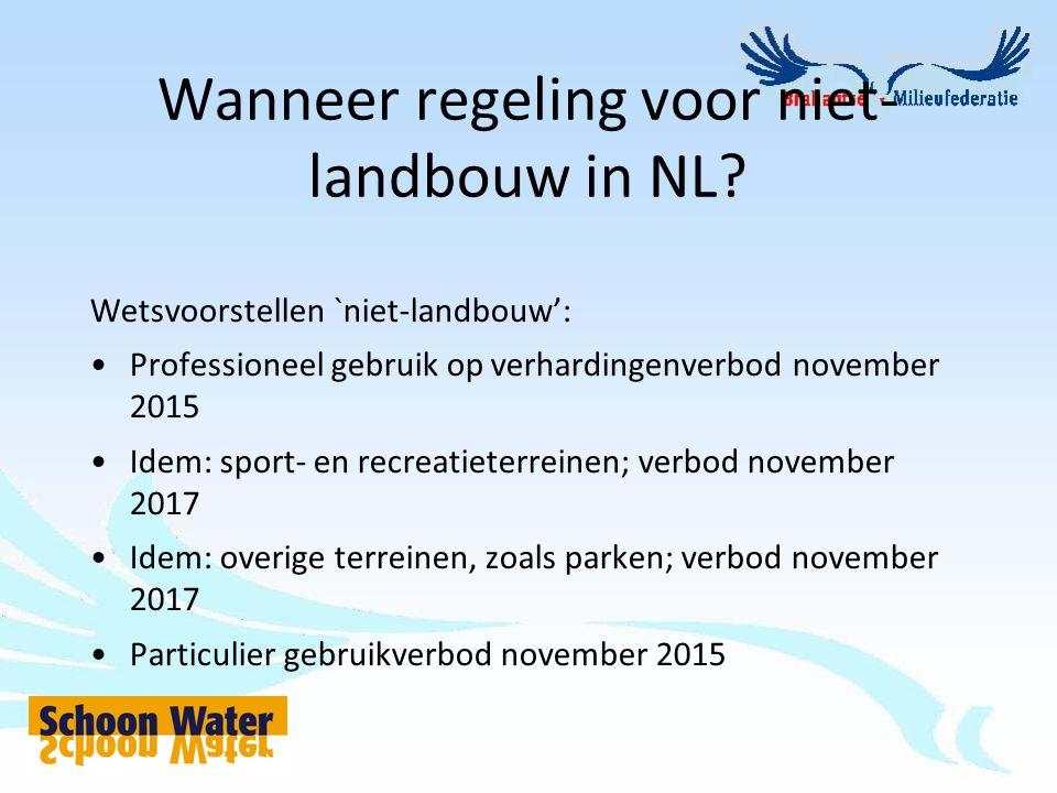 Wanneer regeling voor niet- landbouw in NL? Wetsvoorstellen `niet-landbouw': Professioneel gebruik op verhardingenverbod november 2015 Idem: sport- en