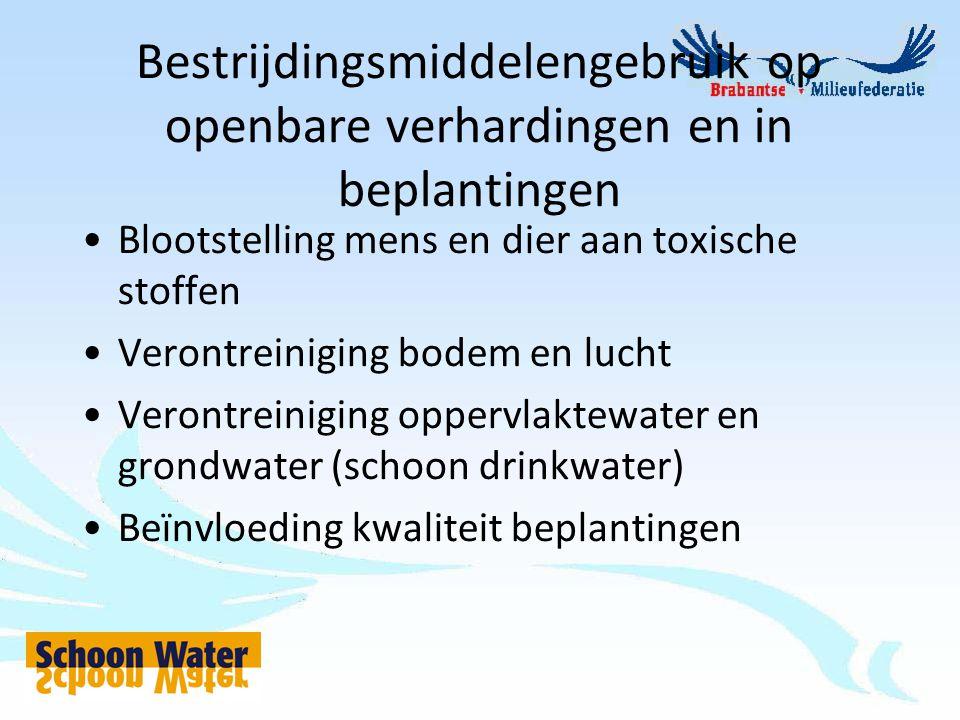 Bestrijdingsmiddelengebruik op openbare verhardingen en in beplantingen Blootstelling mens en dier aan toxische stoffen Verontreiniging bodem en lucht Verontreiniging oppervlaktewater en grondwater (schoon drinkwater) Beïnvloeding kwaliteit beplantingen