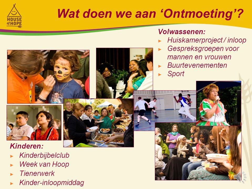 Wat doen we aan 'Ondersteuning'? Gezinnen/alleenstaanden: ► Maatschappelijk (inloop) spreekuur ► Bezoekwerk en straatwerk ► Voedselbank ► Opvoedingsge