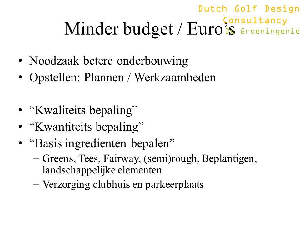 "Minder budget / Euro's Noodzaak betere onderbouwing Opstellen: Plannen / Werkzaamheden ""Kwaliteits bepaling"" ""Kwantiteits bepaling"" ""Basis ingrediente"