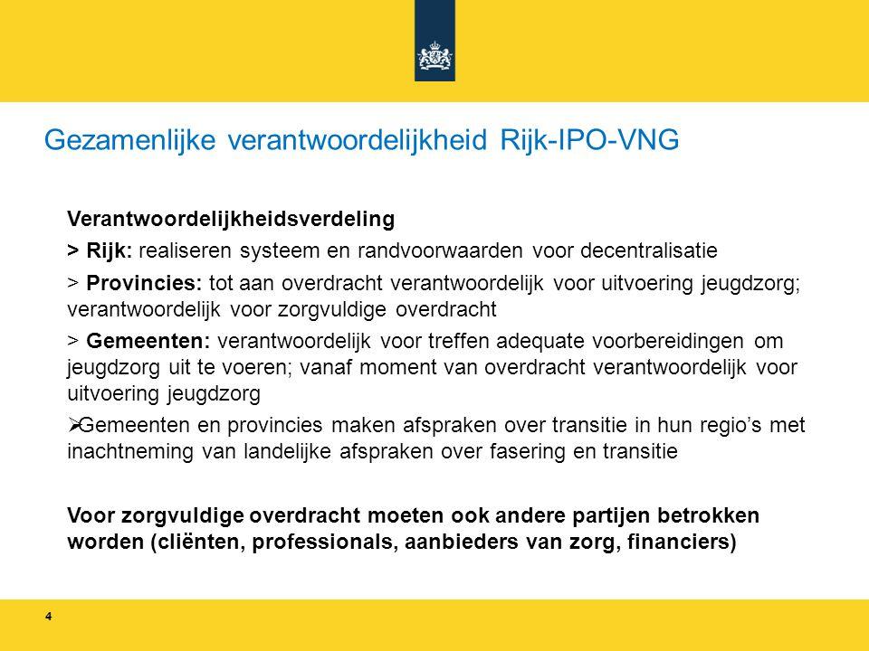 4 4 Gezamenlijke verantwoordelijkheid Rijk-IPO-VNG Verantwoordelijkheidsverdeling > Rijk: realiseren systeem en randvoorwaarden voor decentralisatie >