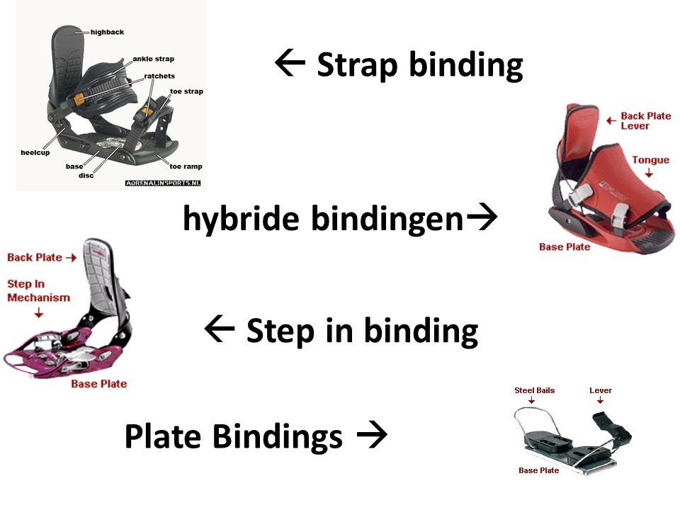 Snowboard bindingen Je hebt verschillende bindingen.