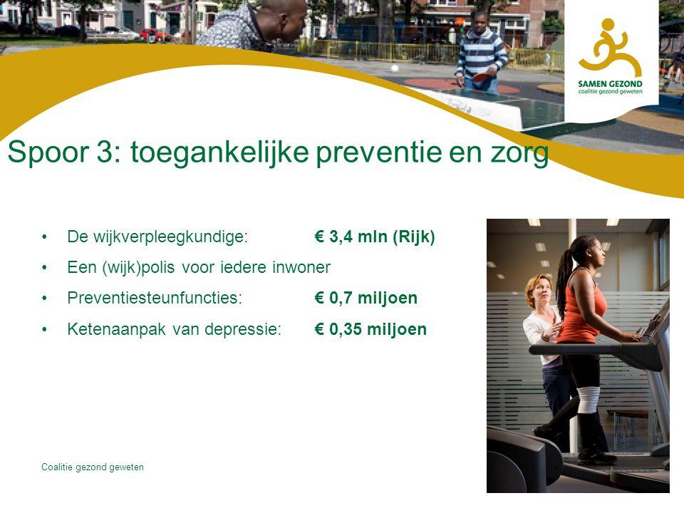 Coalitie gezond geweten Spoor 3: toegankelijke preventie en zorg De wijkverpleegkundige:€ 3,4 mln (Rijk) Een (wijk)polis voor iedere inwoner Preventie