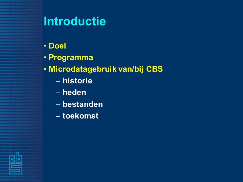 Introductie Doel Programma Microdatagebruik van/bij CBS – historie – heden – bestanden – toekomst