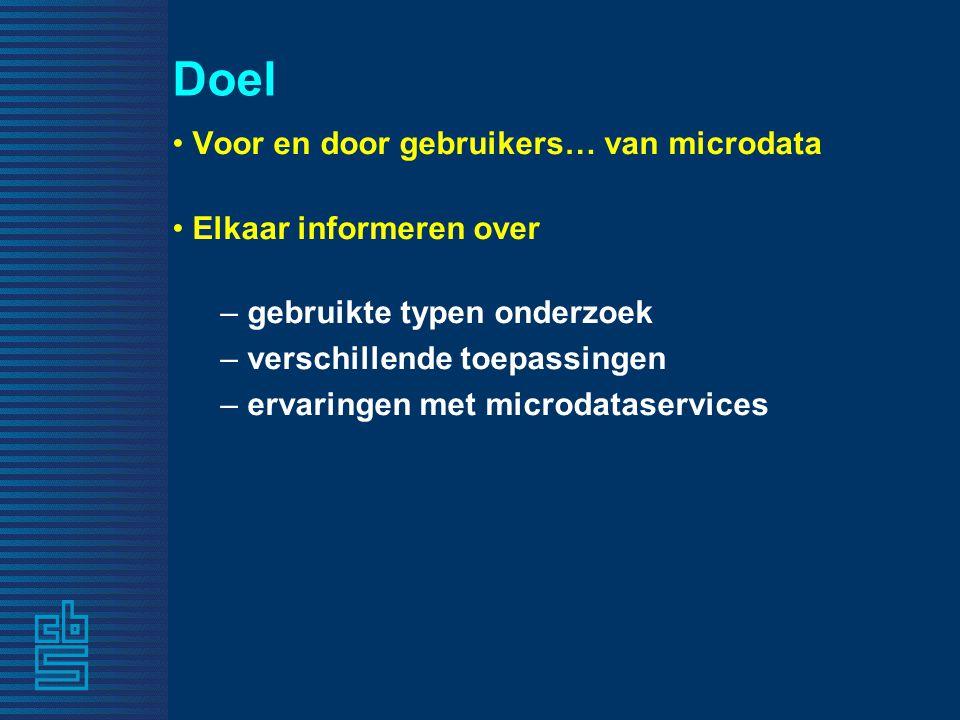 Doel Voor en door gebruikers… van microdata Elkaar informeren over – gebruikte typen onderzoek – verschillende toepassingen – ervaringen met microdataservices
