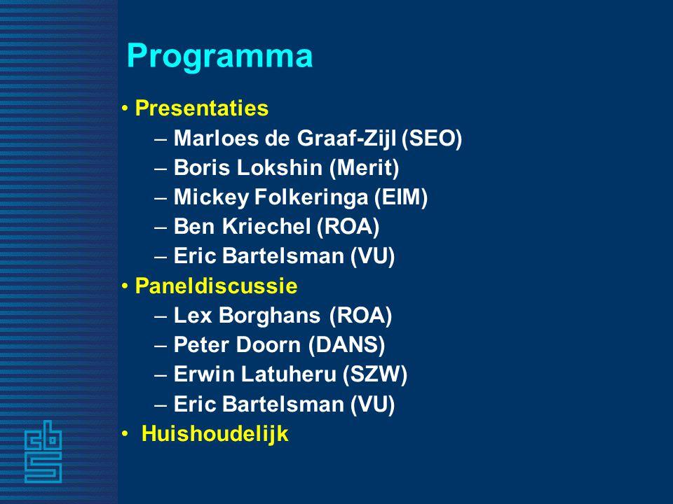 Programma Presentaties – Marloes de Graaf-Zijl (SEO) – Boris Lokshin (Merit) – Mickey Folkeringa (EIM) – Ben Kriechel (ROA) – Eric Bartelsman (VU) Paneldiscussie – Lex Borghans (ROA) – Peter Doorn (DANS) – Erwin Latuheru (SZW) – Eric Bartelsman (VU) Huishoudelijk