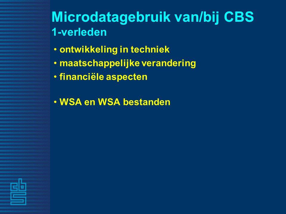 Microdatagebruik van/bij CBS 1-verleden ontwikkeling in techniek maatschappelijke verandering financiële aspecten WSA en WSA bestanden
