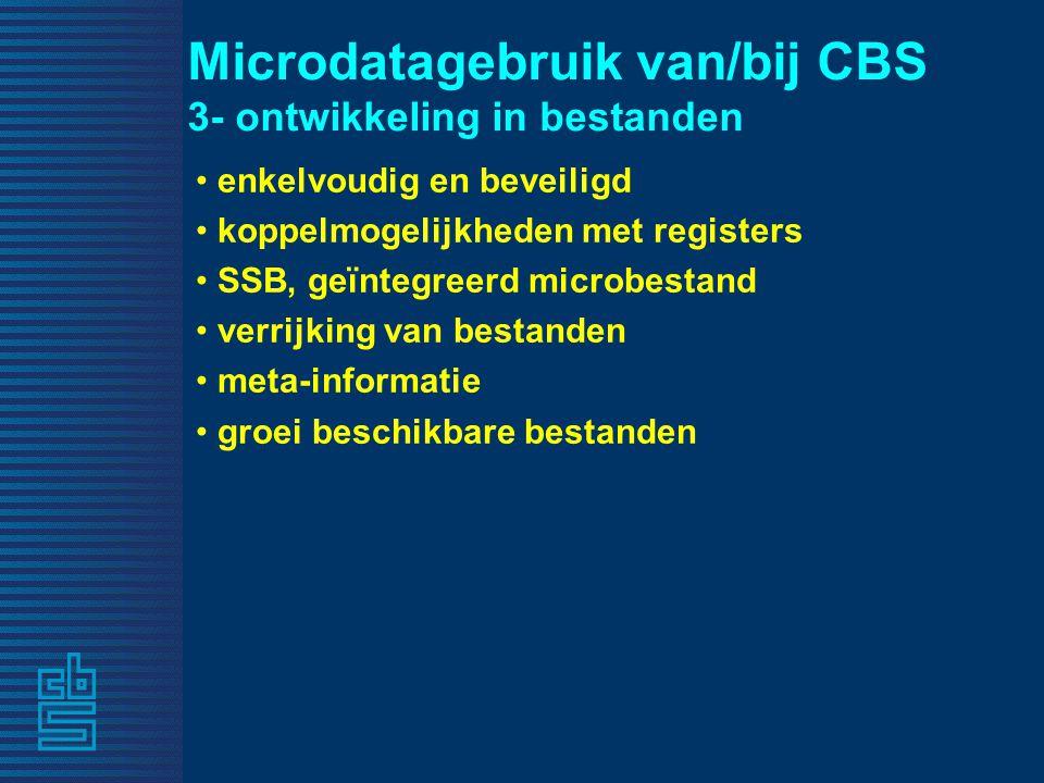 Microdatagebruik van/bij CBS 3- ontwikkeling in bestanden enkelvoudig en beveiligd koppelmogelijkheden met registers SSB, geïntegreerd microbestand verrijking van bestanden meta-informatie groei beschikbare bestanden