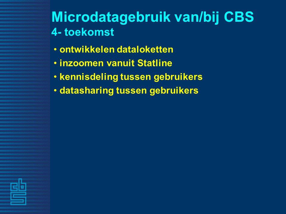 Microdatagebruik van/bij CBS 4- toekomst ontwikkelen dataloketten inzoomen vanuit Statline kennisdeling tussen gebruikers datasharing tussen gebruikers