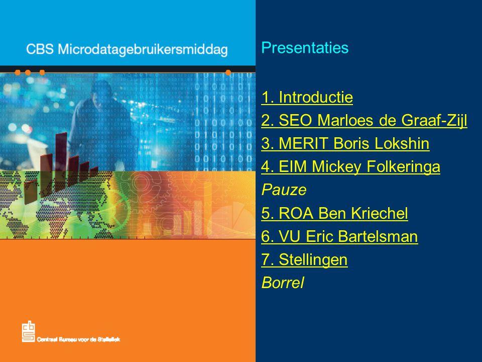 Presentaties 1. Introductie 2. SEO Marloes de Graaf-Zijl 3.