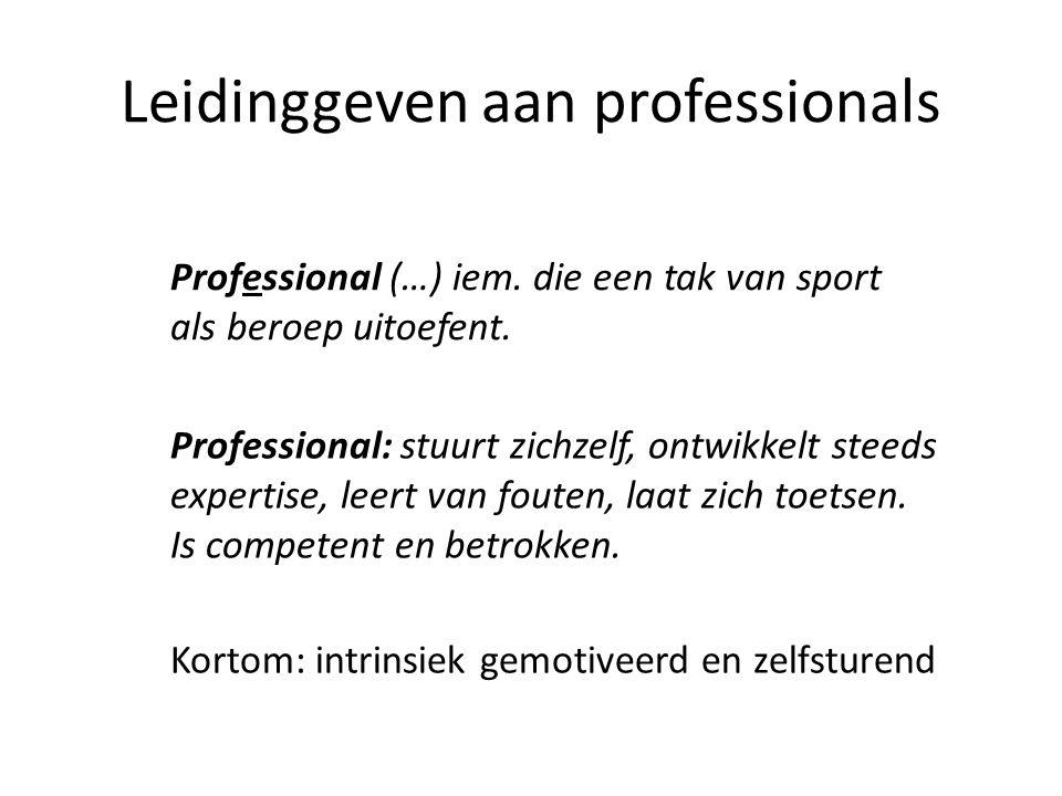 Leidinggeven aan professionals Professional (…) iem. die een tak van sport als beroep uitoefent. Professional: stuurt zichzelf, ontwikkelt steeds expe