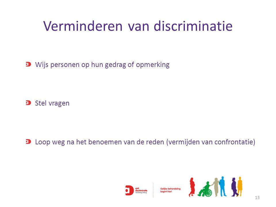 Verminderen van discriminatie 13 Wijs personen op hun gedrag of opmerking Stel vragen Loop weg na het benoemen van de reden (vermijden van confrontati