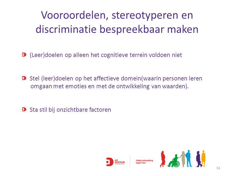 Vooroordelen, stereotyperen en discriminatie bespreekbaar maken 14 (Leer)doelen op alleen het cognitieve terrein voldoen niet Stel (leer)doelen op het
