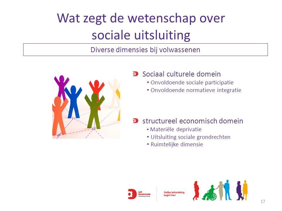 Wat zegt de wetenschap over sociale uitsluiting 17 Sociaal culturele domein Onvoldoende sociale participatie Onvoldoende normatieve integratie structu
