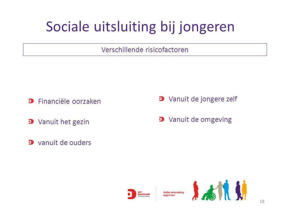 Sociale uitsluiting bij jongeren 18 Verschillende risicofactoren Financiële oorzaken Vanuit het gezin vanuit de ouders Vanuit de jongere zelf Vanuit d