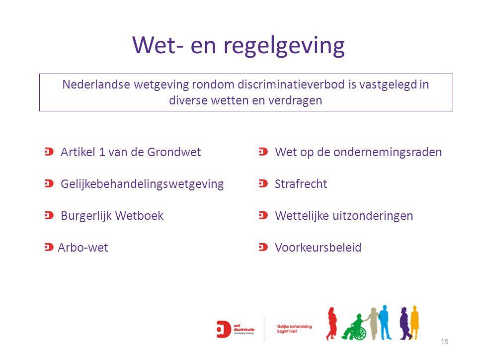 Wet- en regelgeving 19 Nederlandse wetgeving rondom discriminatieverbod is vastgelegd in diverse wetten en verdragen Artikel 1 van de Grondwet Gelijke