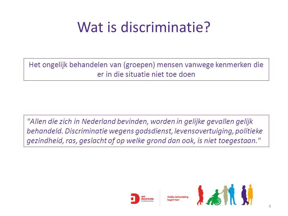 Wat is discriminatie? 4 Het ongelijk behandelen van (groepen) mensen vanwege kenmerken die er in die situatie niet toe doen