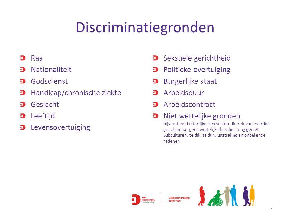 Discriminatiegronden 5 Ras Nationaliteit Godsdienst Handicap/chronische ziekte Geslacht Leeftijd Levensovertuiging Seksuele gerichtheid Politieke over