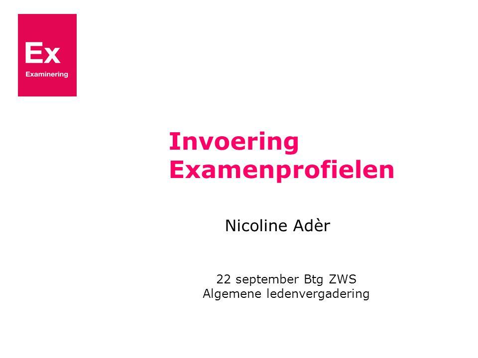 Invoering Examenprofielen Nicoline Adèr 22 september Btg ZWS Algemene ledenvergadering