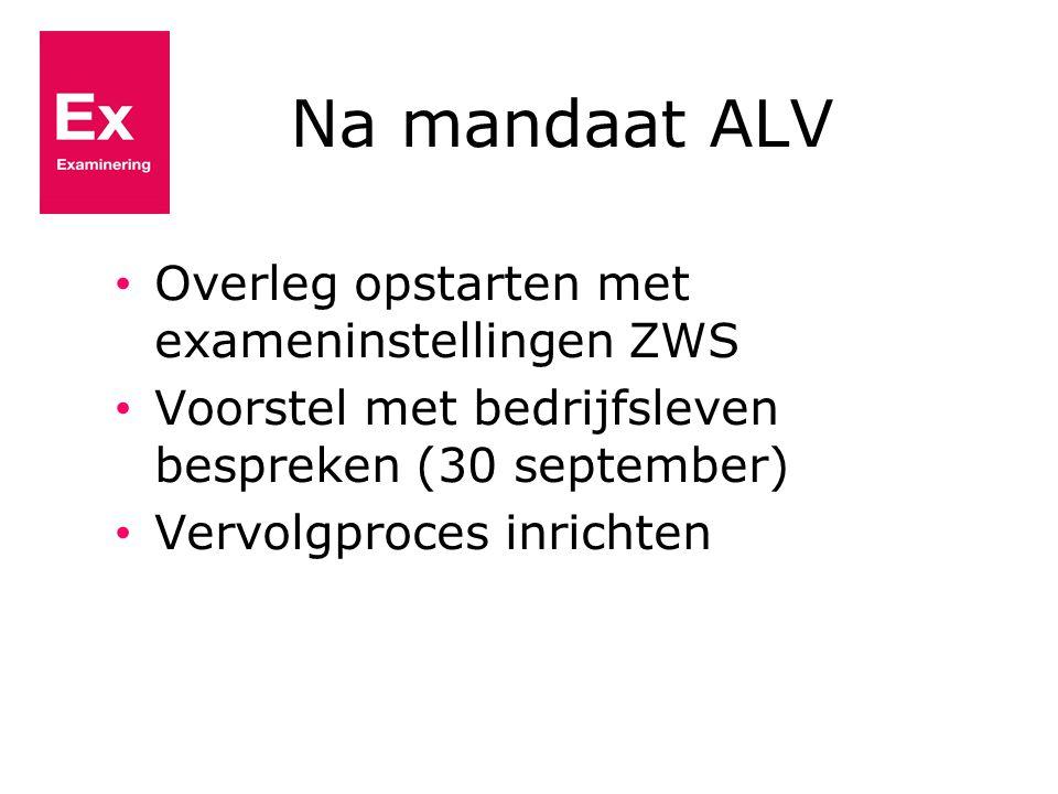 Na mandaat ALV Overleg opstarten met exameninstellingen ZWS Voorstel met bedrijfsleven bespreken (30 september) Vervolgproces inrichten