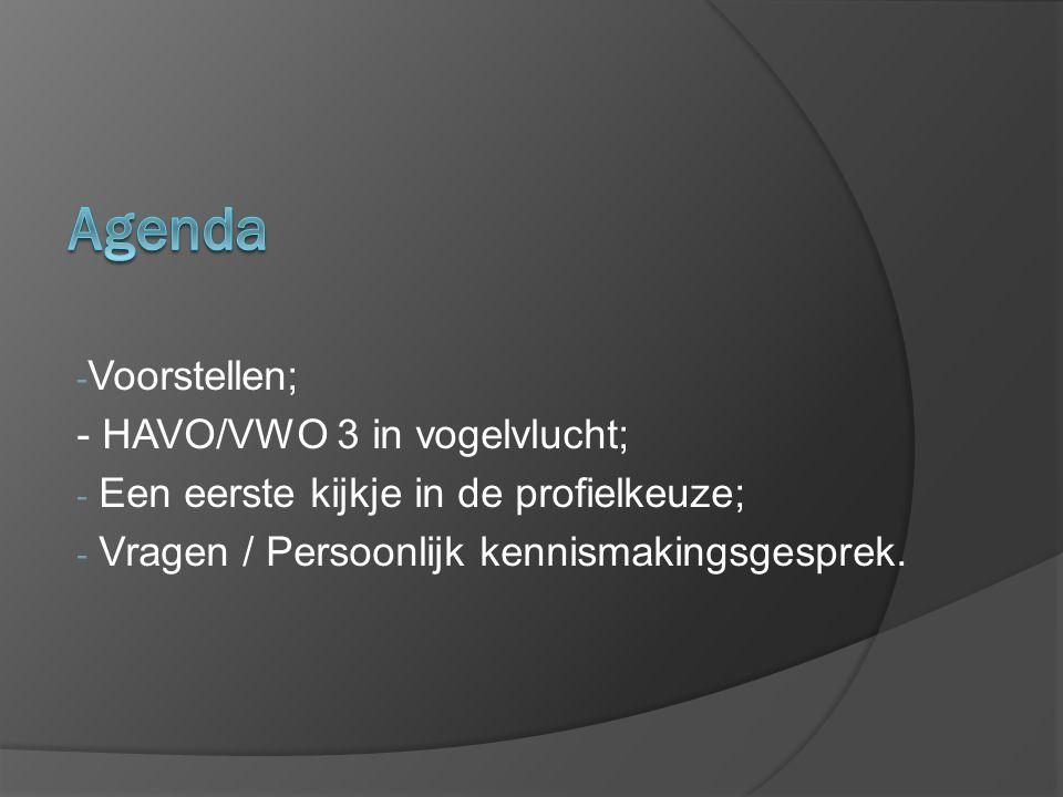 - Voorstellen; - HAVO/VWO 3 in vogelvlucht; - Een eerste kijkje in de profielkeuze; - Vragen / Persoonlijk kennismakingsgesprek.