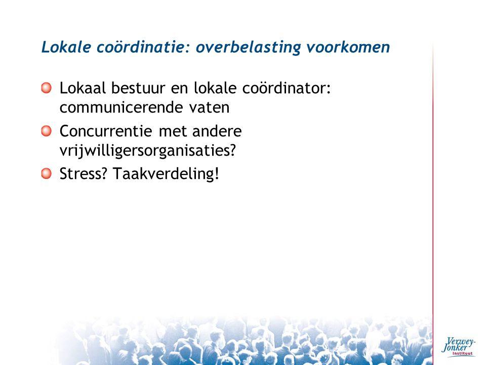Lokale coördinatie: overbelasting voorkomen Lokaal bestuur en lokale coördinator: communicerende vaten Concurrentie met andere vrijwilligersorganisaties.
