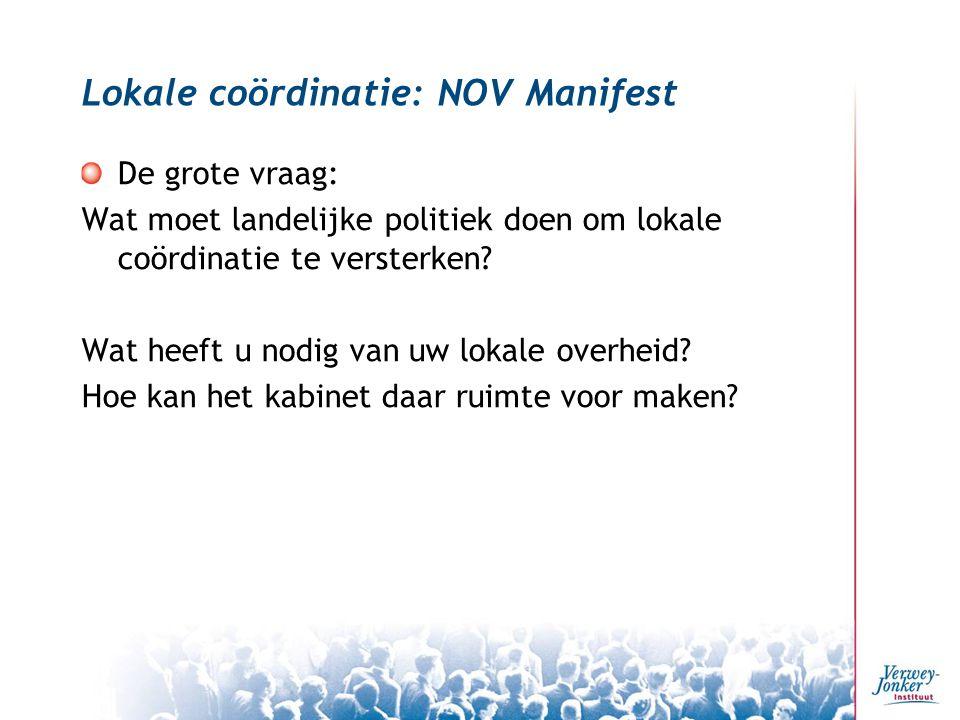 Lokale coördinatie: NOV Manifest De grote vraag: Wat moet landelijke politiek doen om lokale coördinatie te versterken.