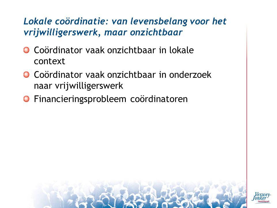 Lokale coördinatie: van levensbelang voor het vrijwilligerswerk, maar onzichtbaar Coördinator vaak onzichtbaar in lokale context Coördinator vaak onzichtbaar in onderzoek naar vrijwilligerswerk Financieringsprobleem coördinatoren