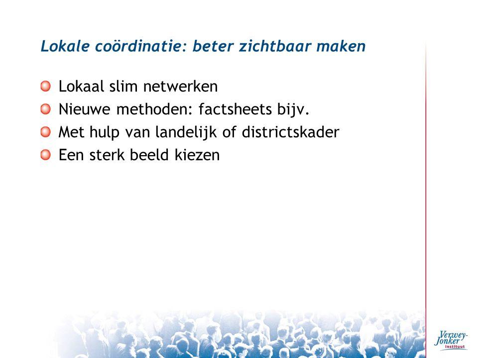 Lokale coördinatie: beter zichtbaar maken Lokaal slim netwerken Nieuwe methoden: factsheets bijv.