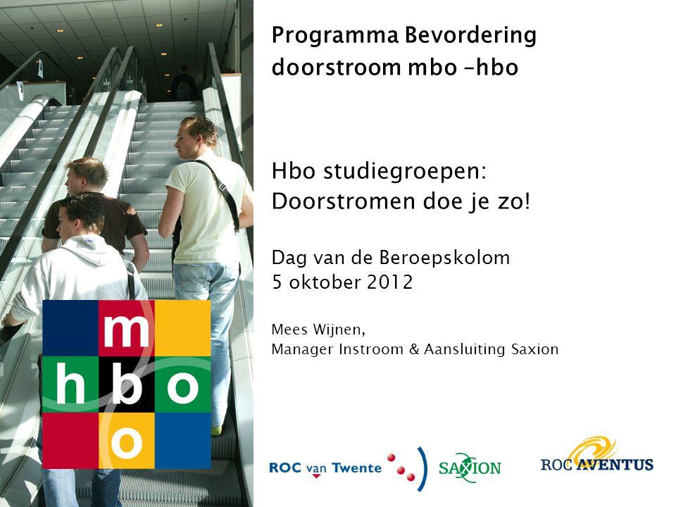 Programma Bevordering Doorstroom mbo-hbo 2007 -2010 ROC van Twente ROC Aventus Saxion Vanaf 2011 opgenomen in staande organisaties: – Ontwikkeling nieuwe trajecten gaan door – Wat te doen met de 15% keuzeruimte