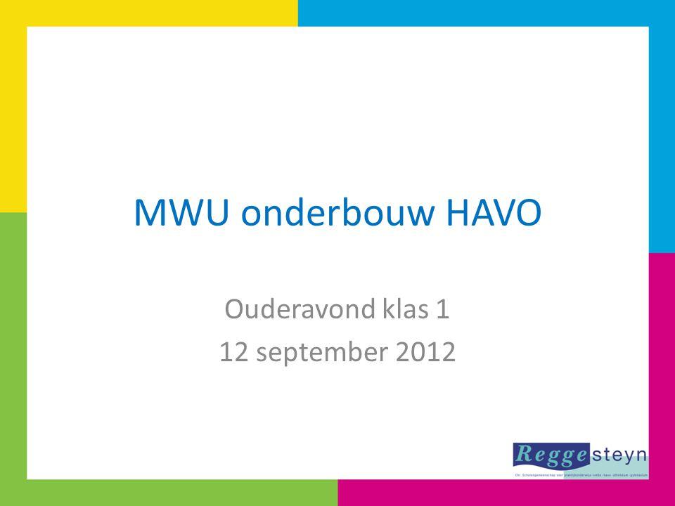 MWU onderbouw HAVO Ouderavond klas 1 12 september 2012