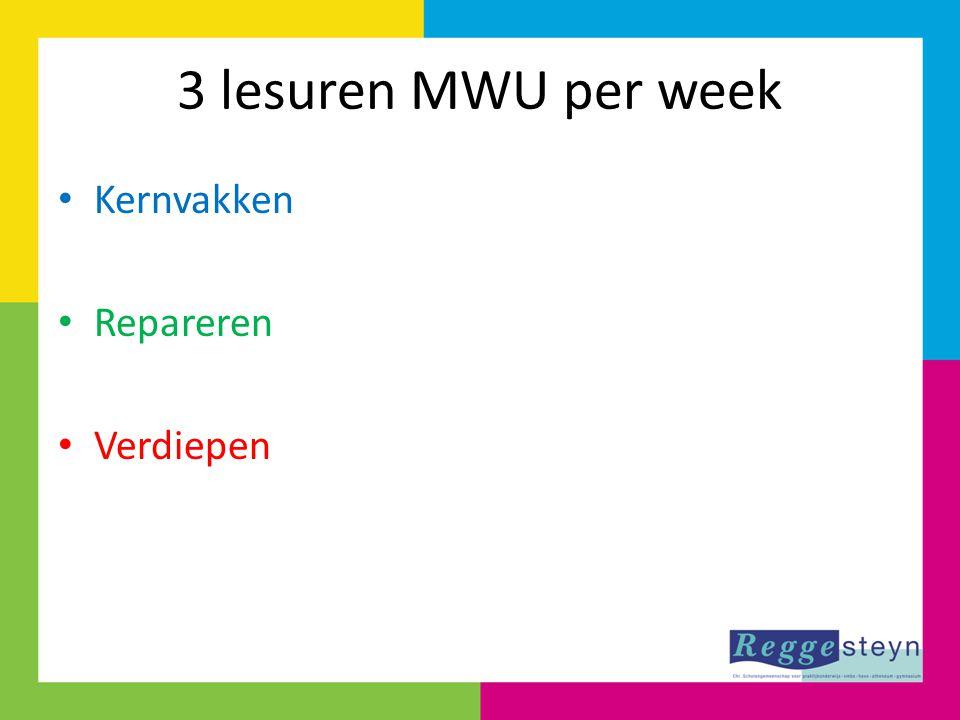 3 lesuren MWU per week Kernvakken Repareren Verdiepen