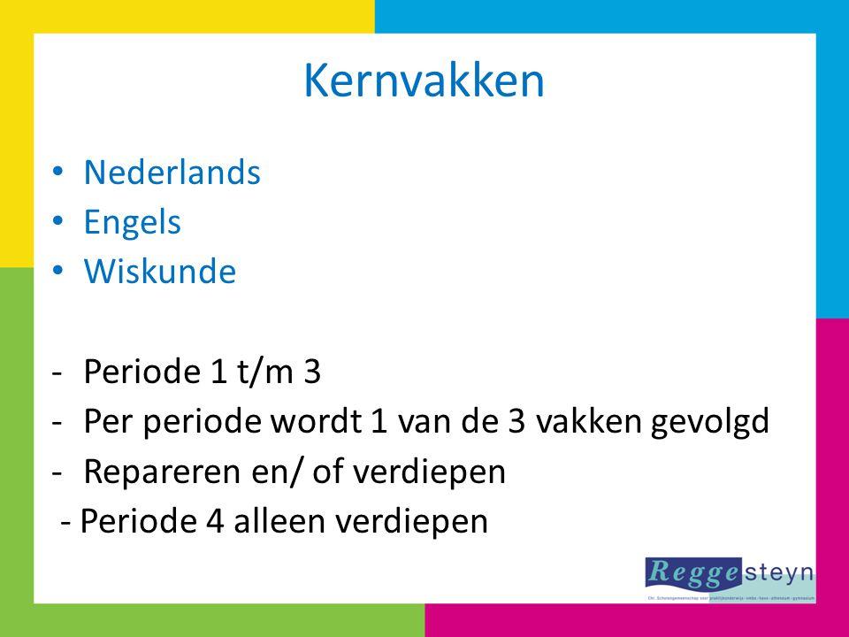 Kernvakken Nederlands Engels Wiskunde -Periode 1 t/m 3 -Per periode wordt 1 van de 3 vakken gevolgd -Repareren en/ of verdiepen - Periode 4 alleen ver