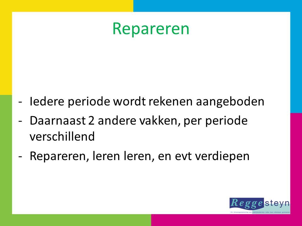 Repareren -Iedere periode wordt rekenen aangeboden -Daarnaast 2 andere vakken, per periode verschillend -Repareren, leren leren, en evt verdiepen