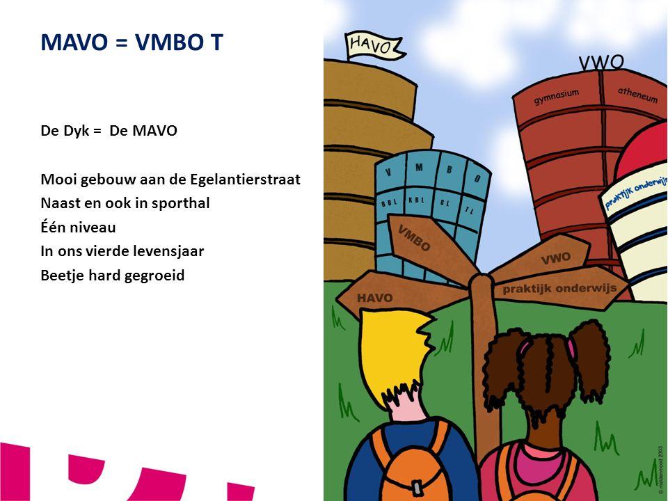 4 VERBINDEND - VERNIEUWEND - VEILIG MAVO = VMBO T De Dyk = De MAVO Mooi gebouw aan de Egelantierstraat Naast en ook in sporthal Één niveau In ons vier