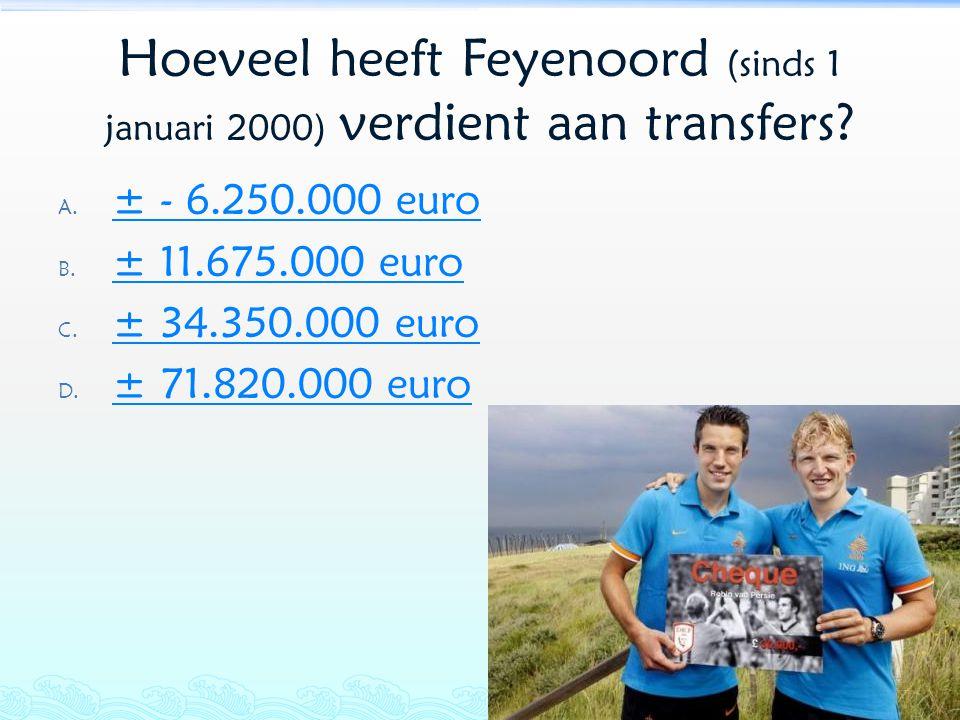 Hoeveel heeft Feyenoord (sinds 1 januari 2000) verdient aan transfers? A. ± - 6.250.000 euro ± - 6.250.000 euro B. ± 11.675.000 euro ± 11.675.000 euro
