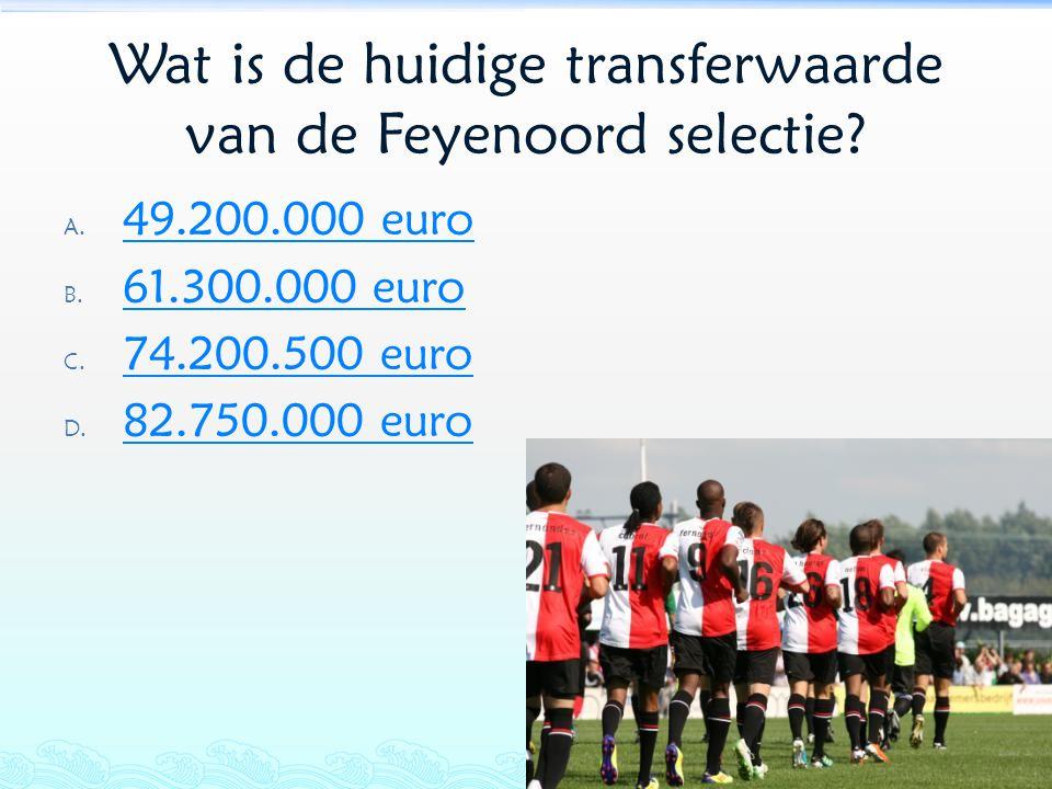 Wat is de huidige transferwaarde van de Feyenoord selectie? A. 49.200.000 euro 49.200.000 euro B. 61.300.000 euro 61.300.000 euro C. 74.200.500 euro 7