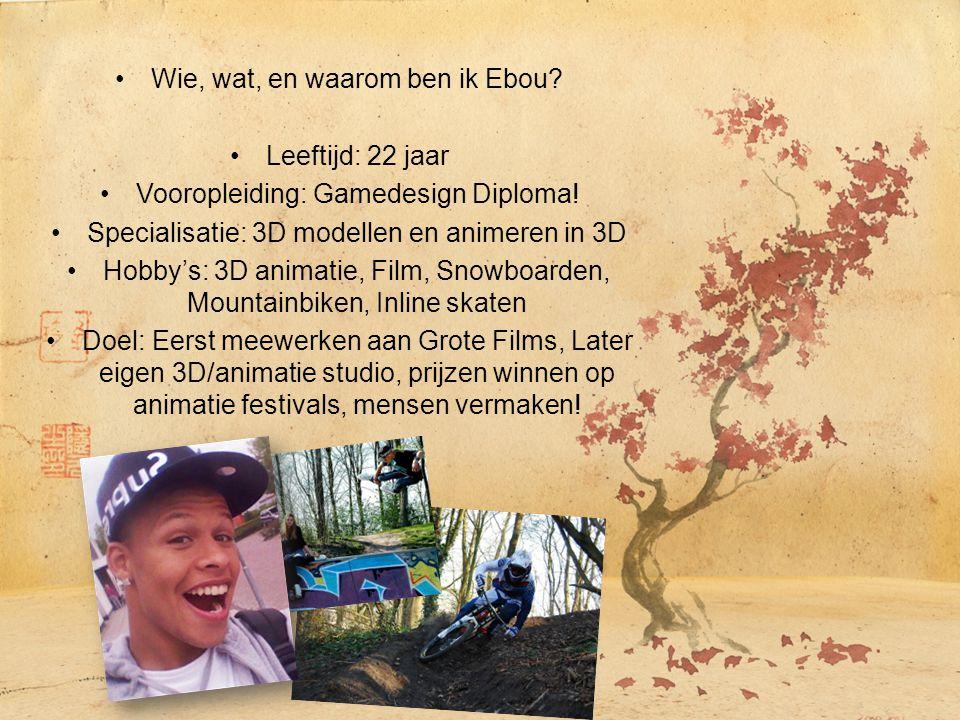 Wie, wat, en waarom ben ik Ebou? Leeftijd: 22 jaar Vooropleiding: Gamedesign Diploma! Specialisatie: 3D modellen en animeren in 3D Hobby's: 3D animati