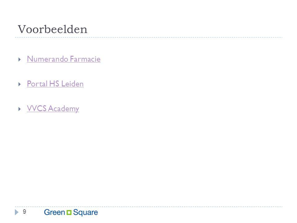 Voorbeelden 9  Numerando Farmacie Numerando Farmacie  Portal HS Leiden Portal HS Leiden  VVCS Academy VVCS Academy
