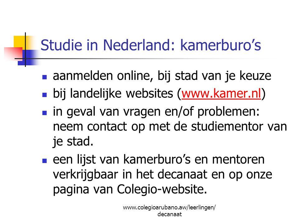 Studie in Nederland: kamerburo's aanmelden online, bij stad van je keuze bij landelijke websites (www.kamer.nl)www.kamer.nl in geval van vragen en/of