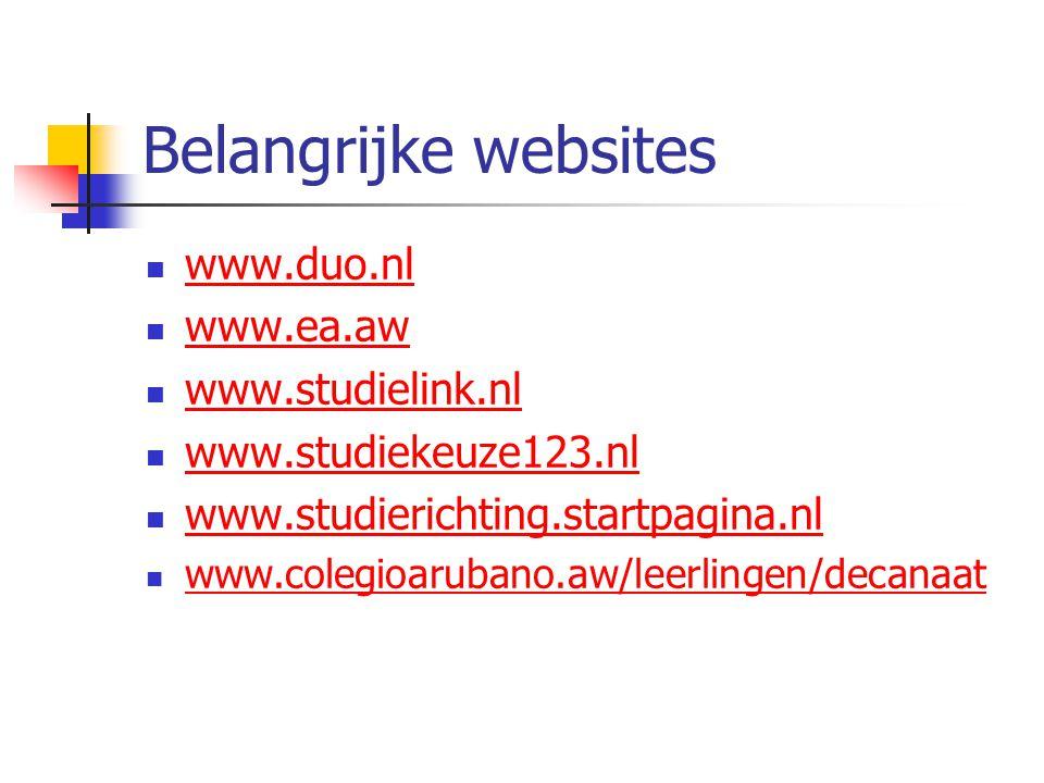 Belangrijke websites www.duo.nl www.ea.aw www.studielink.nl www.studiekeuze123.nl www.studierichting.startpagina.nl www.colegioarubano.aw/leerlingen/d