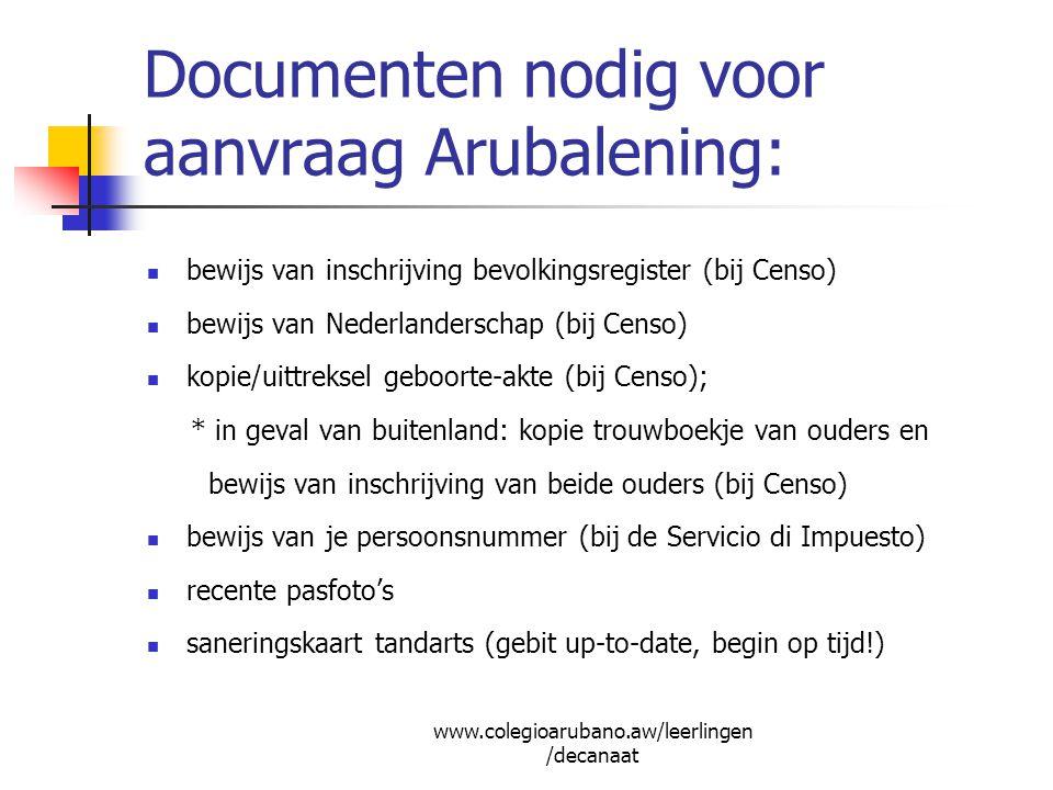 Documenten nodig voor aanvraag Arubalening: bewijs van inschrijving bevolkingsregister (bij Censo) bewijs van Nederlanderschap (bij Censo) kopie/uittr