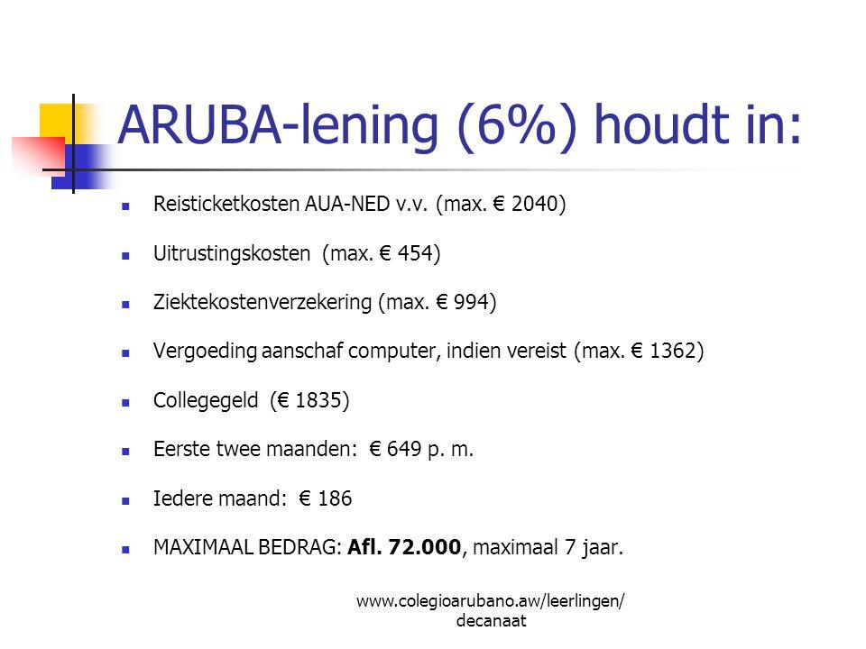 ARUBA-lening (6%) houdt in: Reisticketkosten AUA-NED v.v. (max. € 2040) Uitrustingskosten (max. € 454) Ziektekostenverzekering (max. € 994) Vergoeding