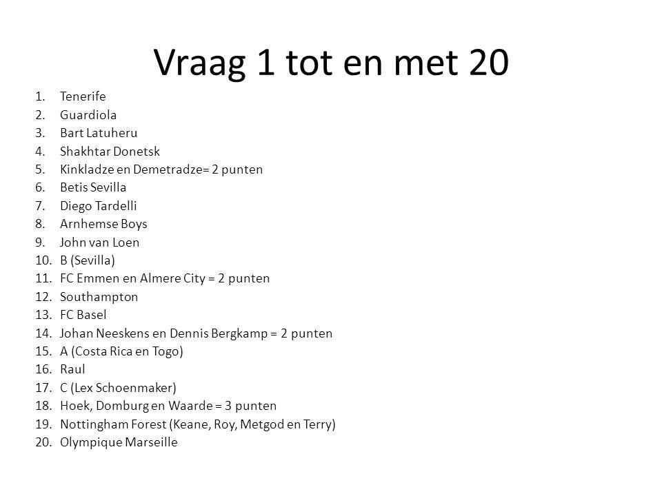 Vraag 21 tot en met 40 21.FC Volendam 22. Bakx (Bergen, Siena, Koln en Xanthi) 23.