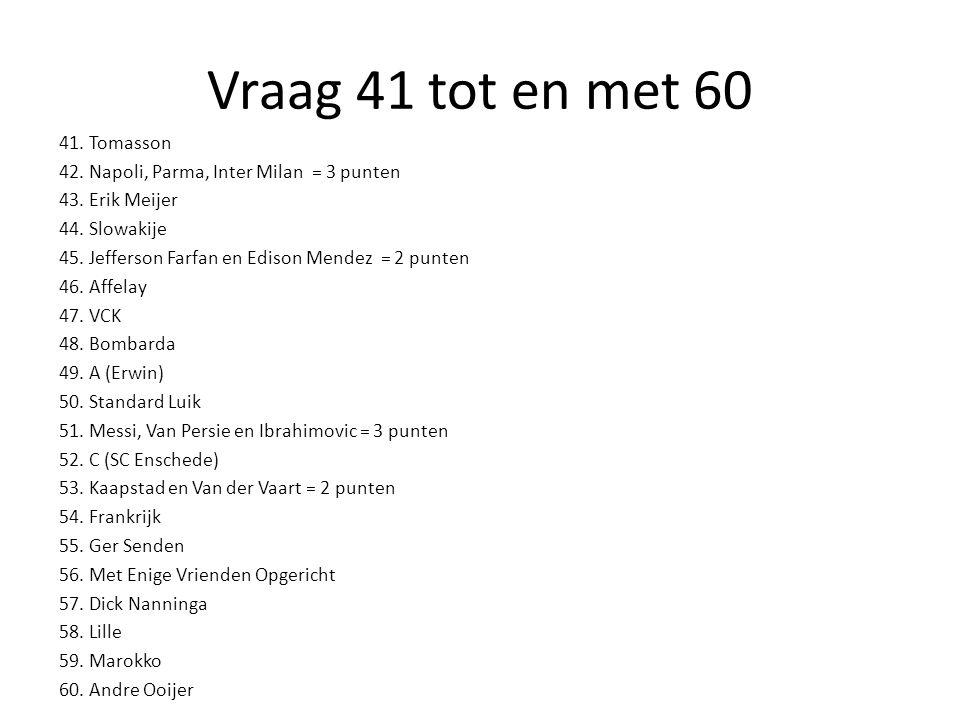 Vraag 41 tot en met 60 41.Tomasson 42. Napoli, Parma, Inter Milan = 3 punten 43.